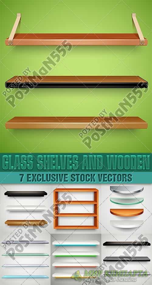 Разной формы полки и стойки, стеклянные, деревянные | Different forms of sh ...