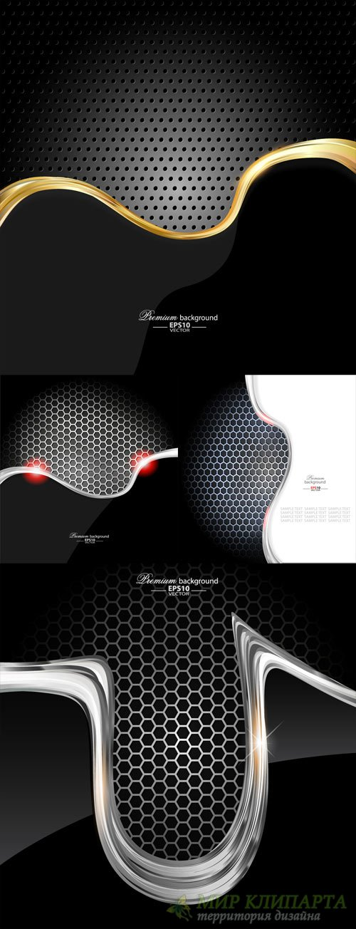 Dark style metal wave background vector set