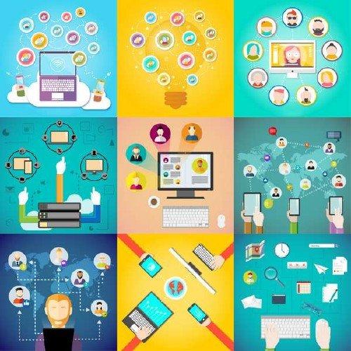 Социальные медиа и элементы в векторе