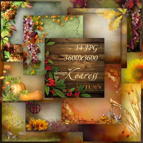 Осенние фоны для дизайна с грибами, ягодами, листьями