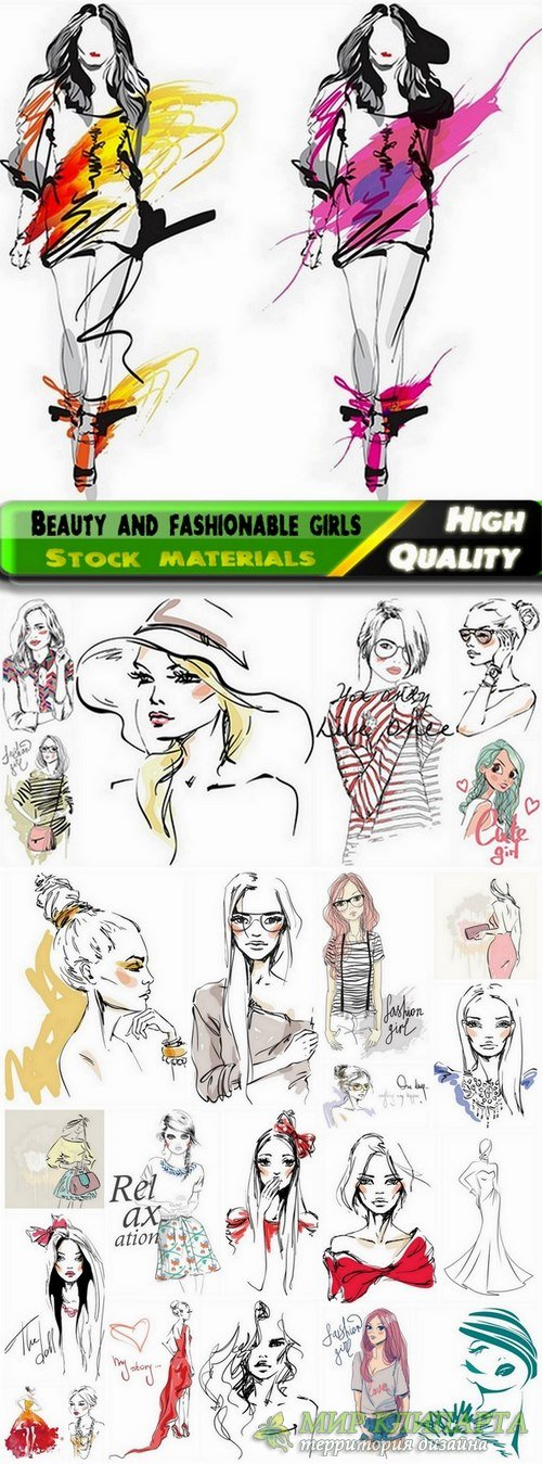 Beauty and fashionable girls illustrations in vector from stock - 25 Eps