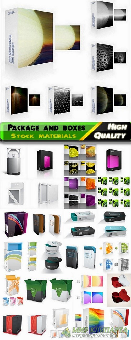 Package and boxes template design in vector from stock - 25 Eps