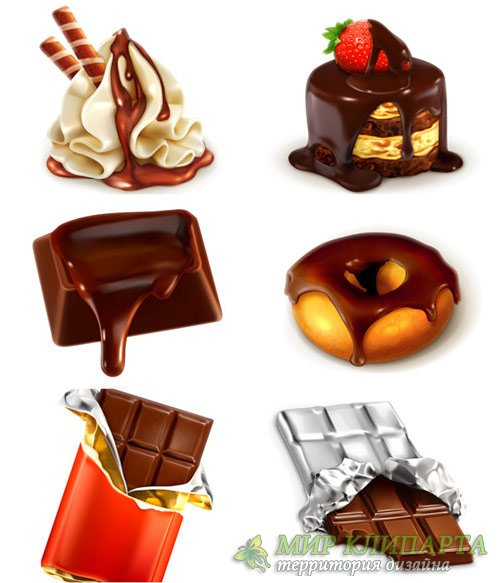 Realistic chocolate creative vector set