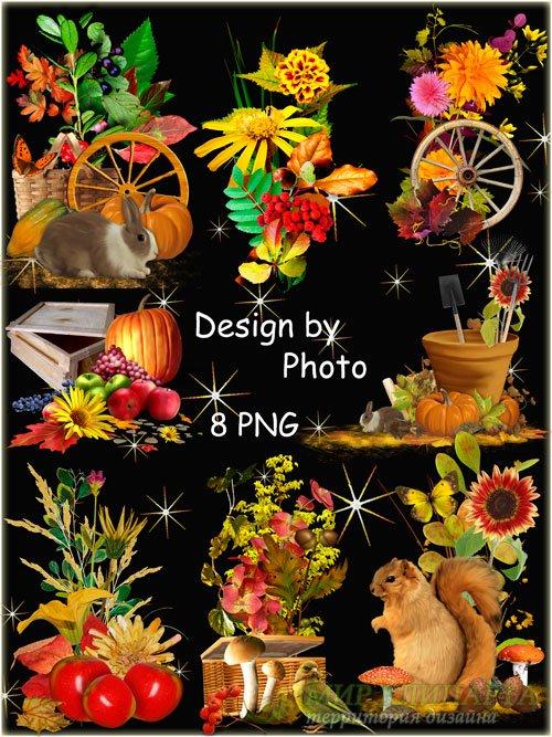 Набор осенних кластеров для фотошопа - Дары осени