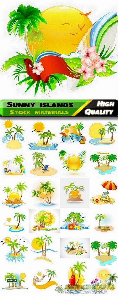 Sunny islands and Sunny beach Travel concept in vector from stock - 25 Eps