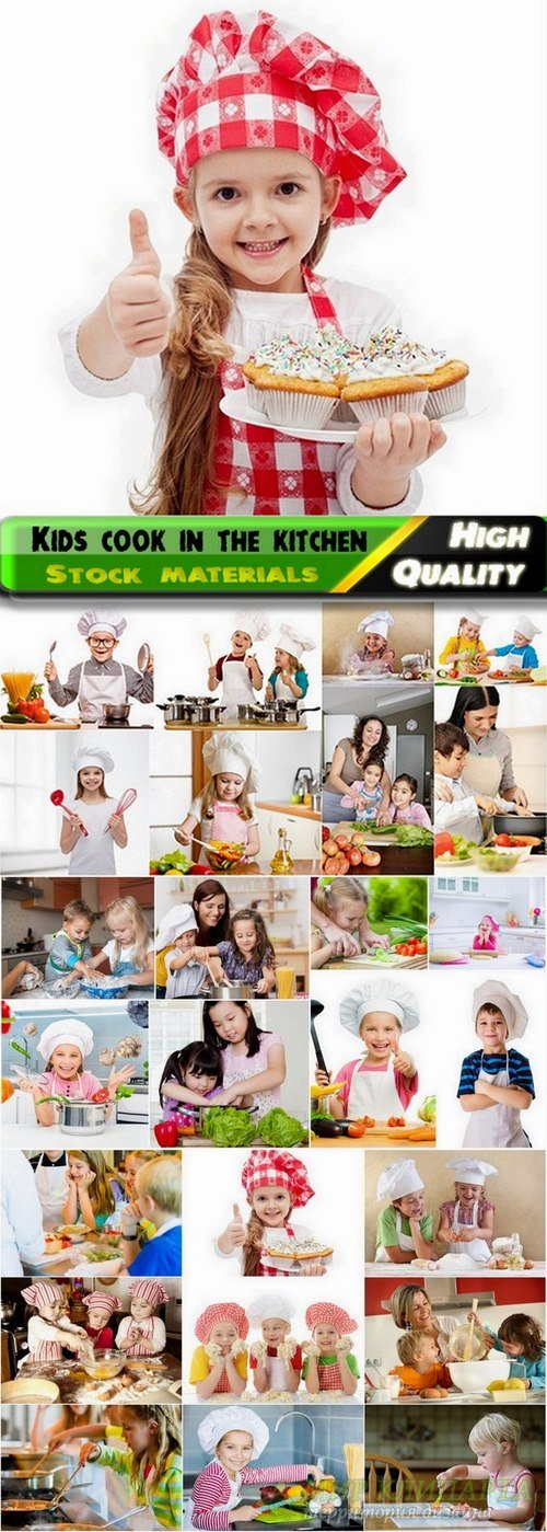 Lovely kids cook in the kitchen Stock images - 25 HQ Jpg