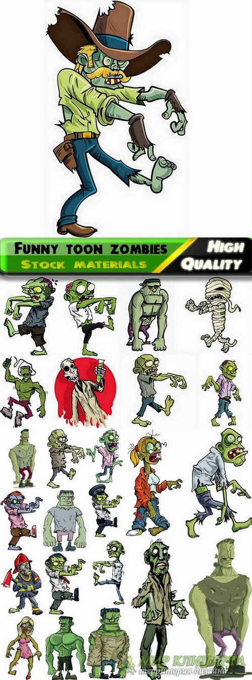 Funny toon zombies in vector from stock - 25 Eps