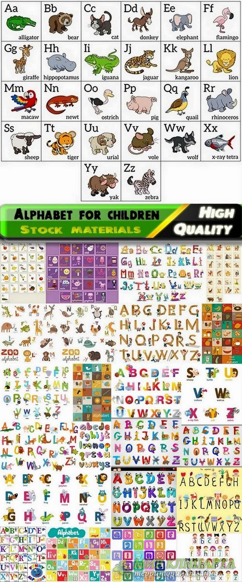 Alphabet for children and letters with different illustrations in vector fr ...