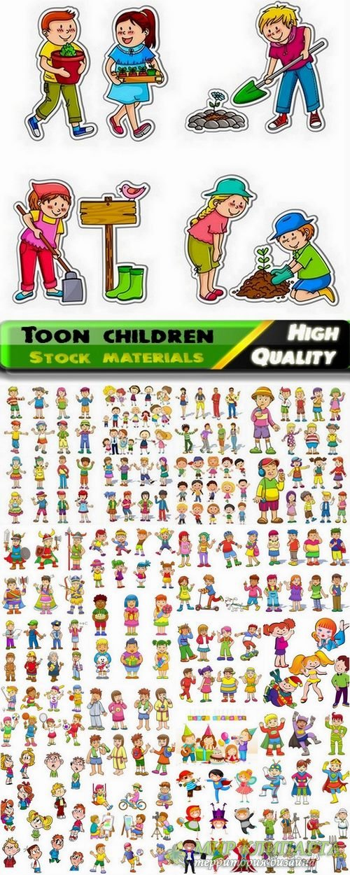 Beautiful illustrations of toon children in vector from stock #2 - 25 Eps