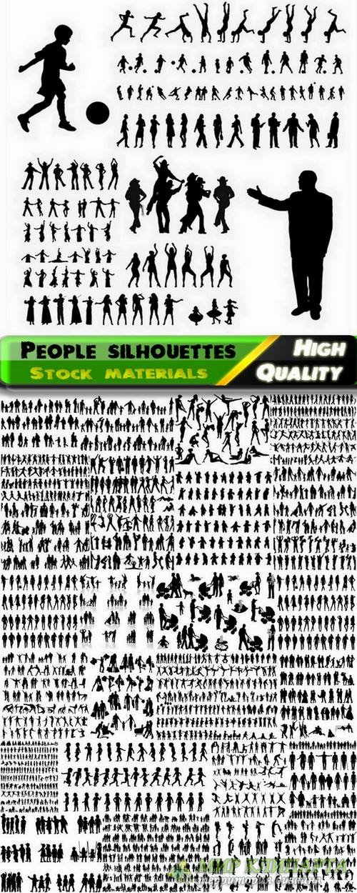 Big set of people silhouettes in vector from stock - 25 Eps