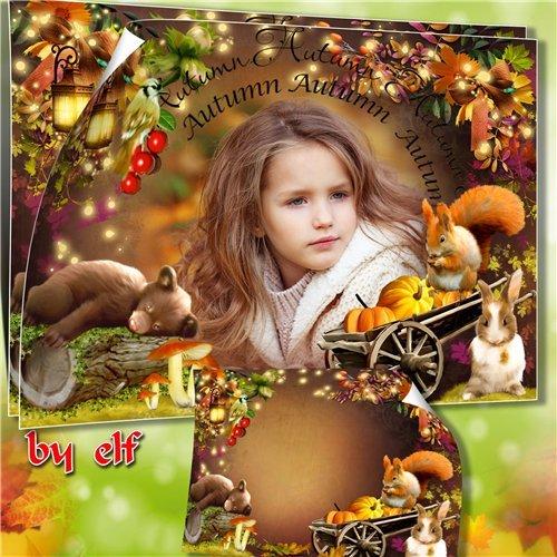 Рамка для детских осенних фото с мишкой, белочкой и зайчиком