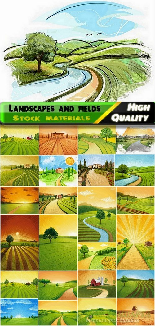 Beautiful illustrations of landscapes and fields pen painting in vector fro ...
