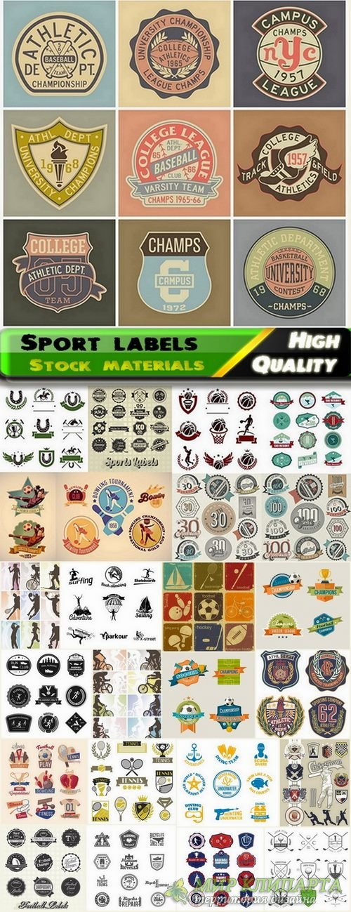 Different sport labels in vector from stock - 25 Eps