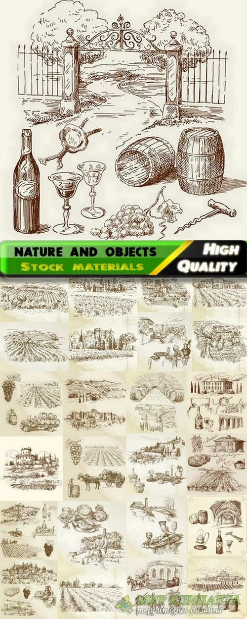 Set of Hand drawing illustration nature and objects in vector from stock -  ...