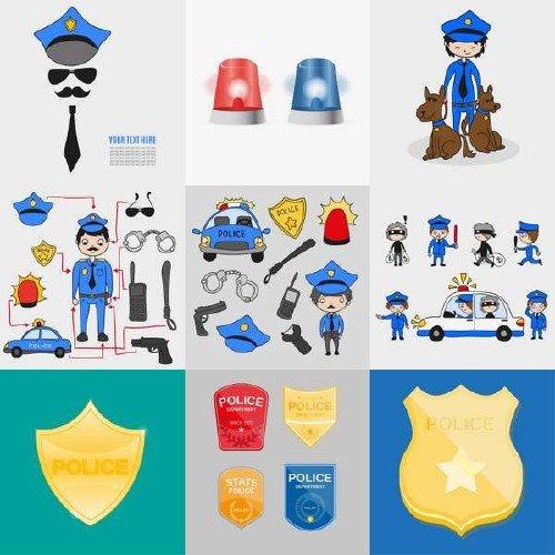 Полицейские, наручники, автомобили в векторе