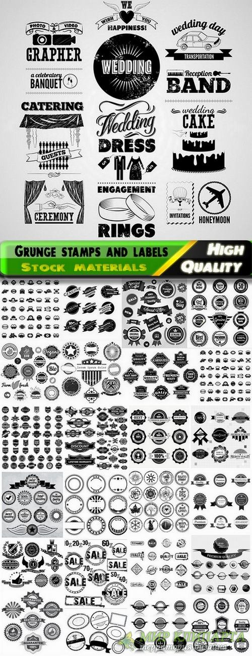 Grunge stamps and labels in vector from stock #2 - 25 Eps