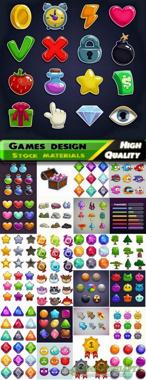 Game design elements in vector from stock #4 - 25 Eps