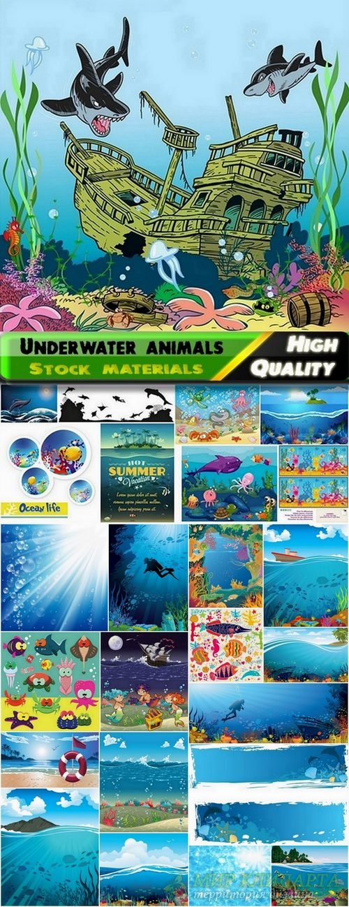 Underwater landscapes and fish and  Sealife concept in vector from stock -  ...