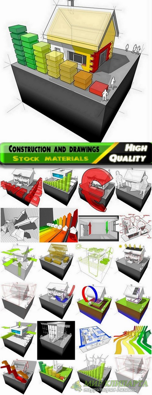 Construction and drawings buildings in vector from stock - 25 Eps