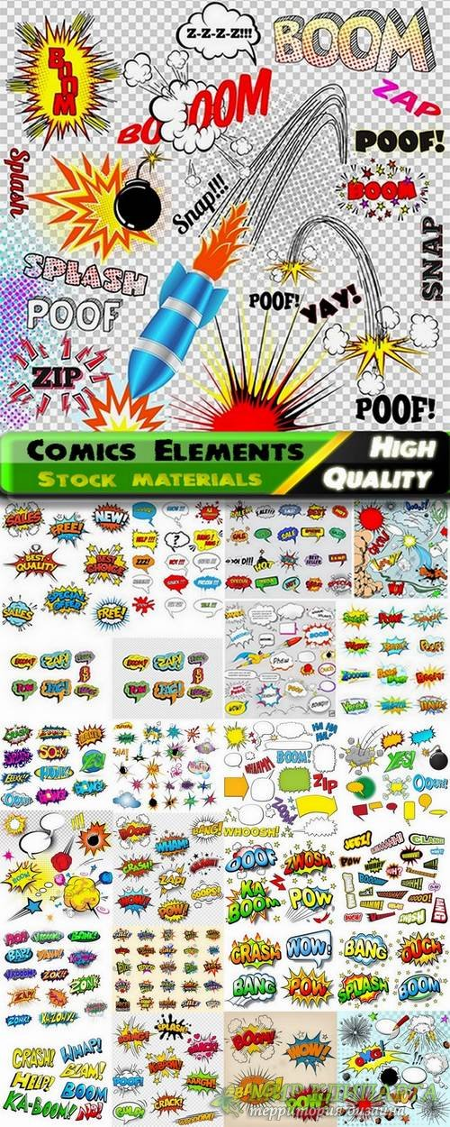 Different Comics design Elements in vector from stock #2 - 25 Eps