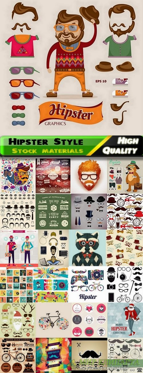 Hipster Style design elements in vector from stock #3 - 25 Eps