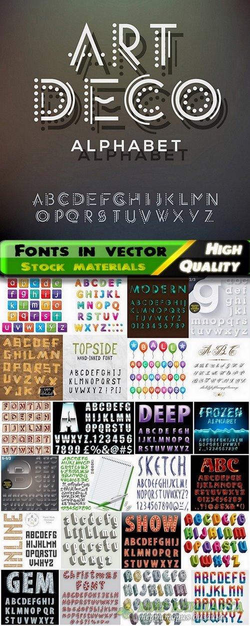 Different Fonts in vector from stock #6 - 25 Eps