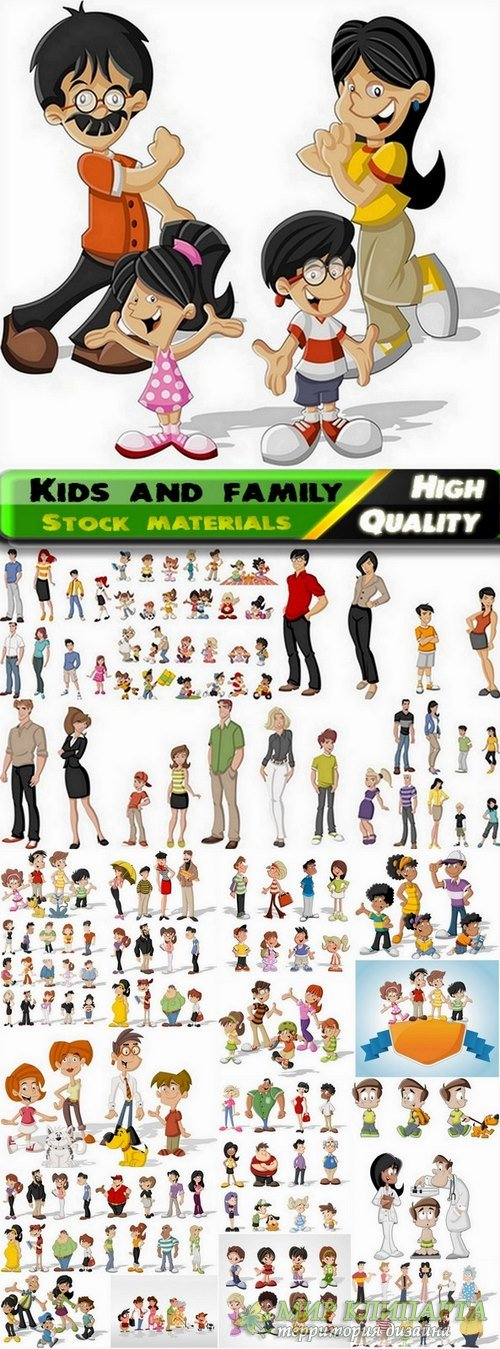 Toon kids and family in vector from stock - 25 Eps