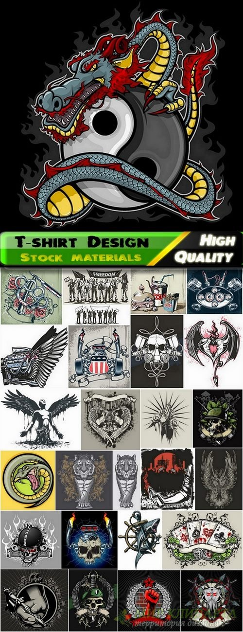 T-shirt Design elements in vector from stock #38 - 25 Eps