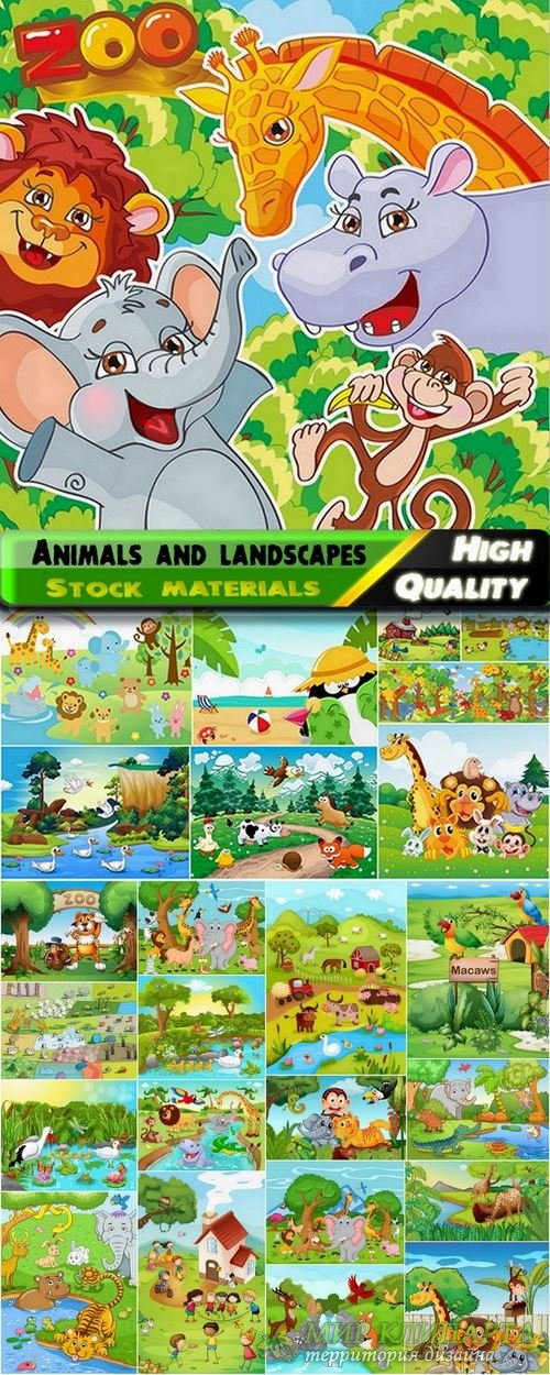 Animals and landscapes clipart in vector from stock for children - 25 Eps