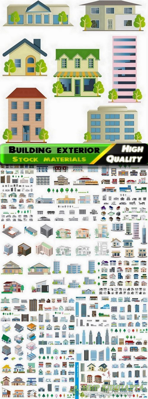 Different building exterior in vector from stock - 25 Eps