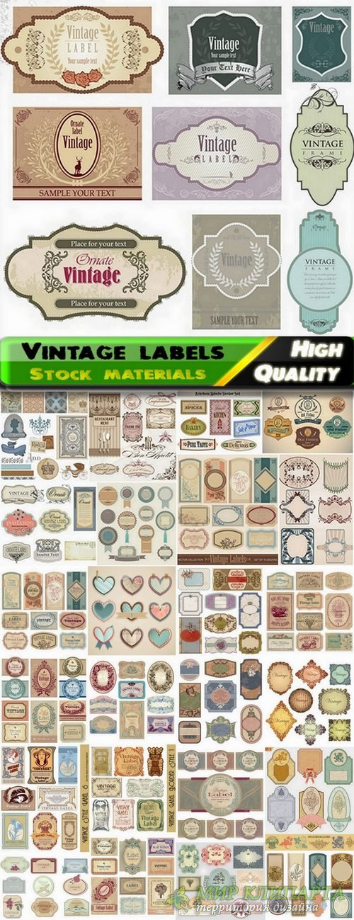 Different vintage labels in vector from stock - 25 Eps