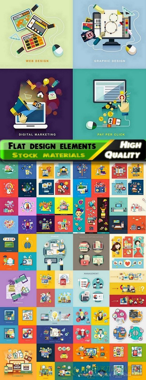 Flat icons and Flat design elements in vector from stock - 25 Eps
