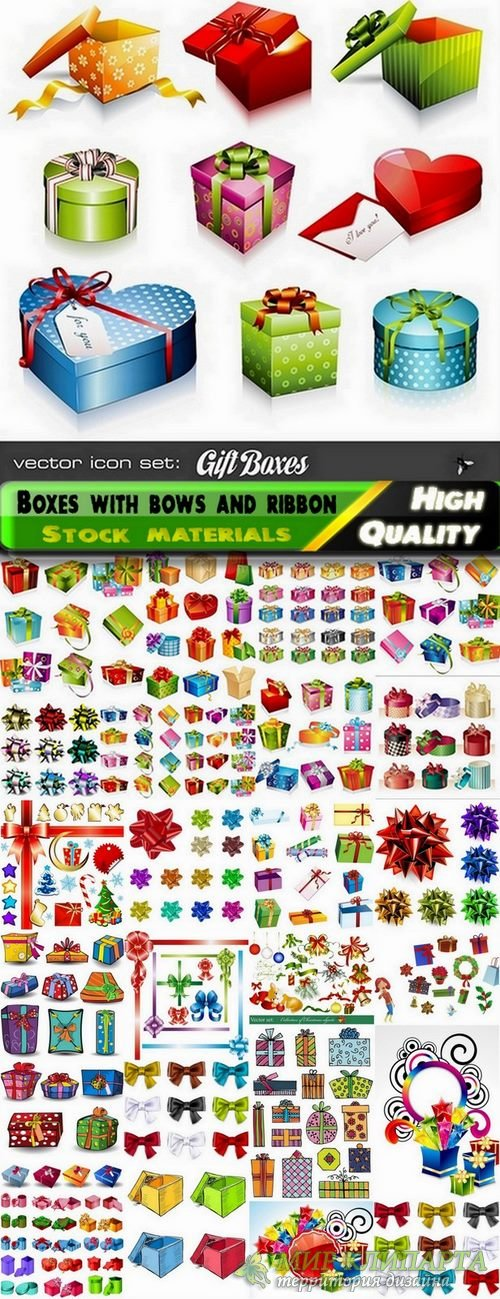 Holiday backgrounds and gift boxes with bows and ribbons #2 - 25 Eps