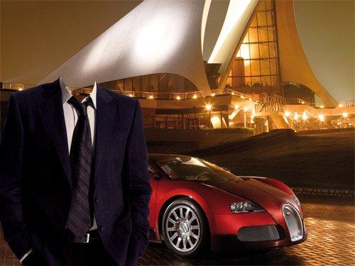 Шаблон для Photoshop - В костюме на фоне престижного авто