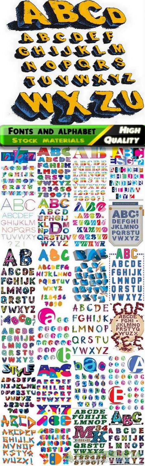 Different Fonts and alphabet in vector from stock - 25 Eps