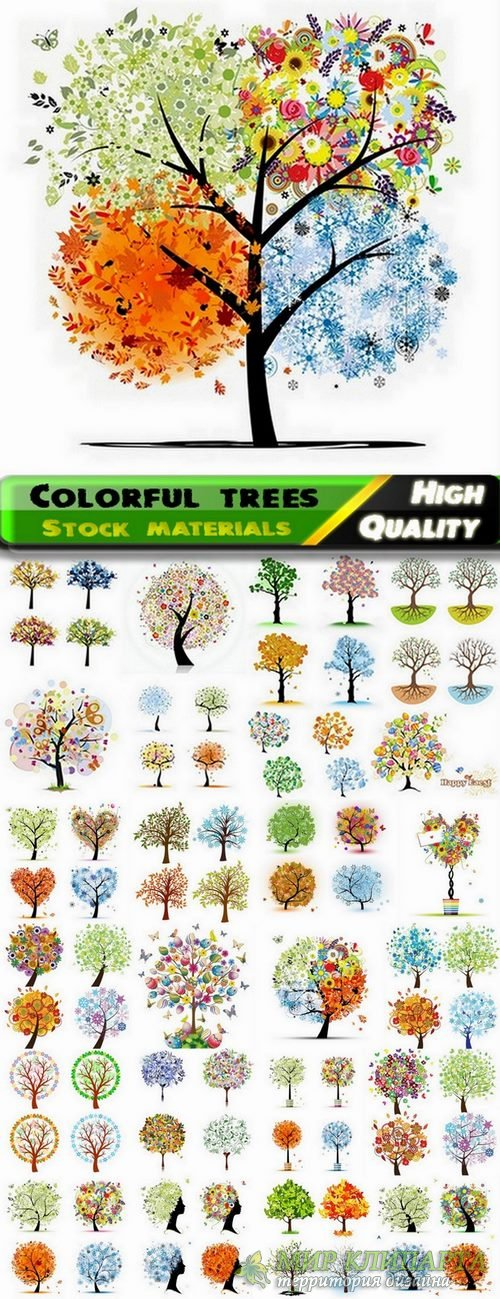 Abstract and colorful trees in vector from stock - 25 Eps