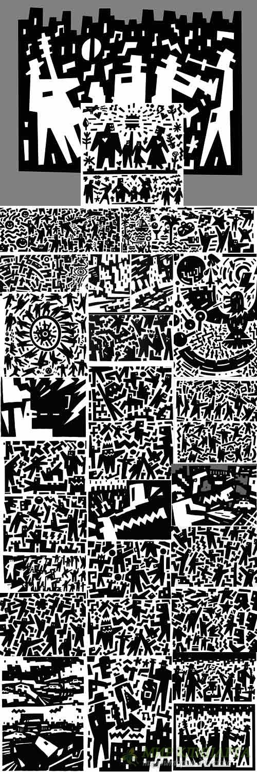 Abstract black and white cartoon illustration