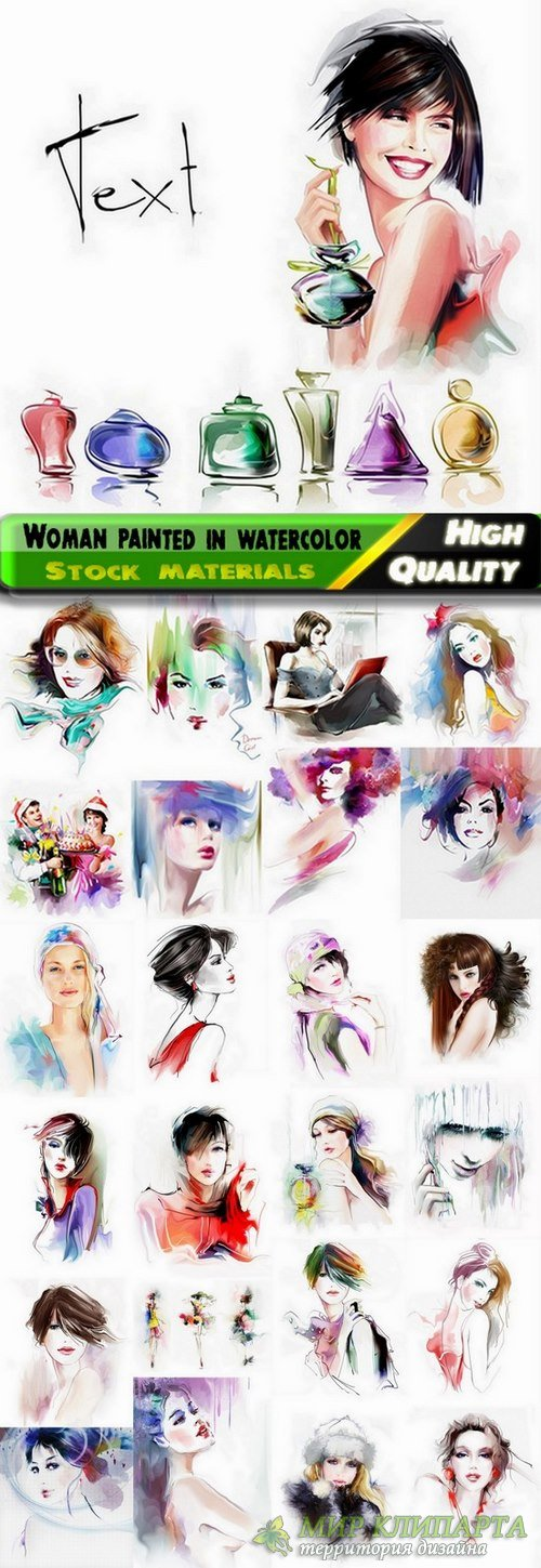 Amazing woman painted in watercolor Stock images - 25 HQ Jpg
