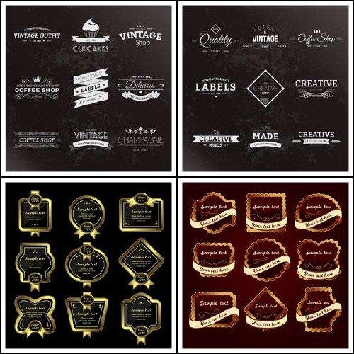 Винтажные стикеры и ярлыки в векторном формате