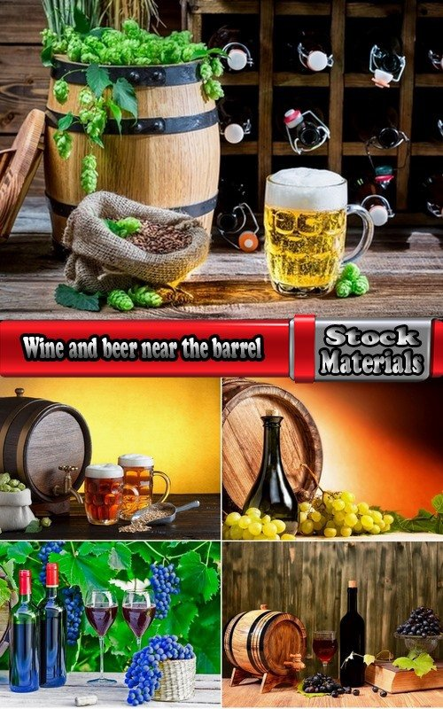 Wine and beer near the barrel 5 UHQ Jpeg