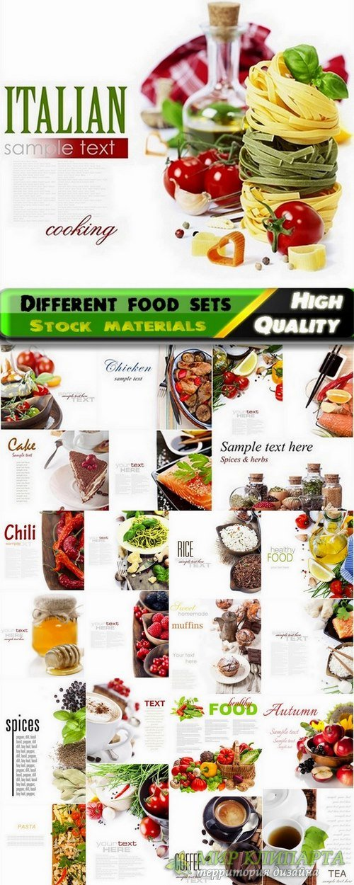 Different food sets with sample text Stock images - 25 HQ Jpg