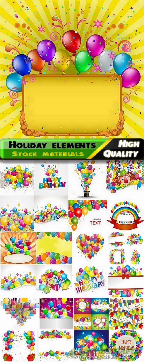 Holiday elements and happy birthday template design - 25 Eps