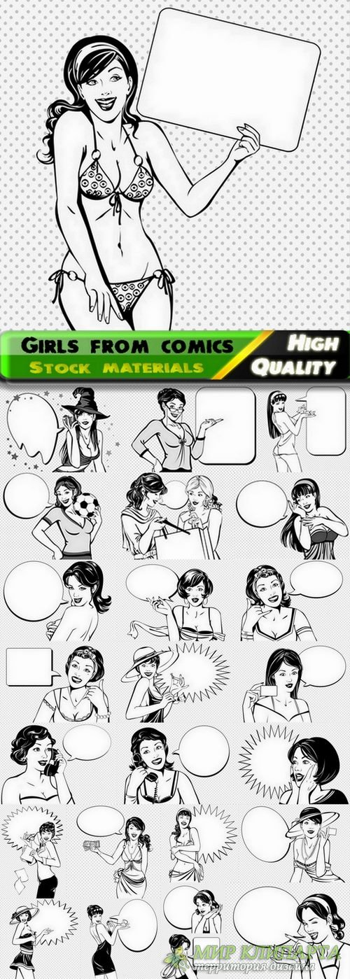 Beautiful girls from comics in vector from stock - 25 Ai