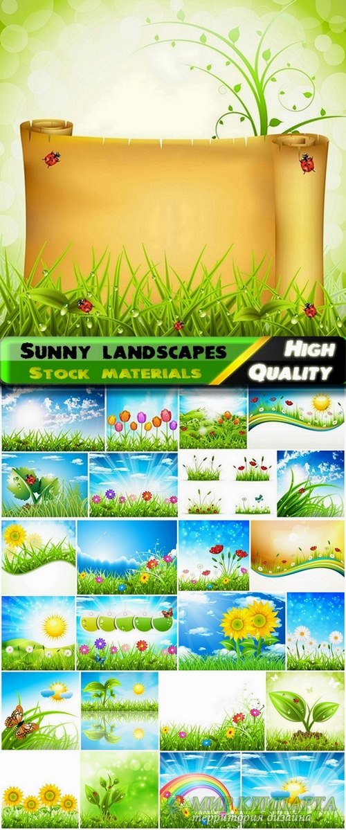 Sunny landscapes in vector from stock - 25 Eps
