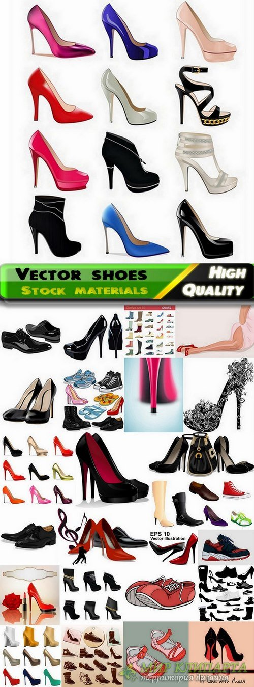 Different mens and womens vector shoes from stock - 25 Eps