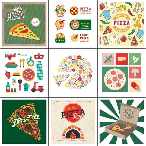 Ломтики пиццы и логотипы к ней в векторном варианте