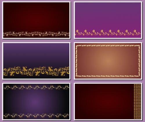 Фоны для визиток и творческих работ с золотыми узорами.