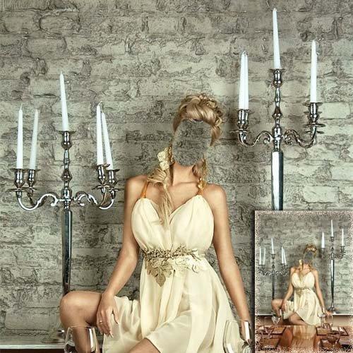 Шаблон для девушек - В платье у свечей