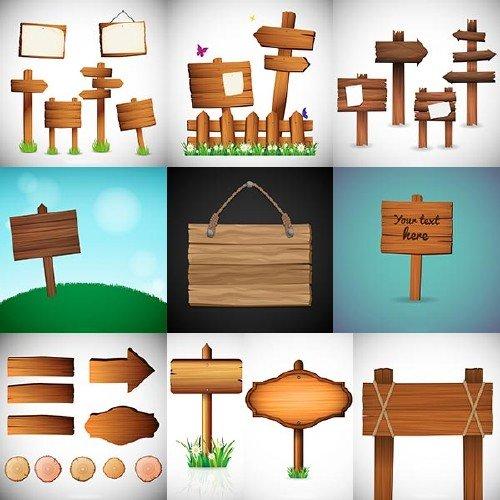 Деревянные вывески и стрелки в векторном клипарте