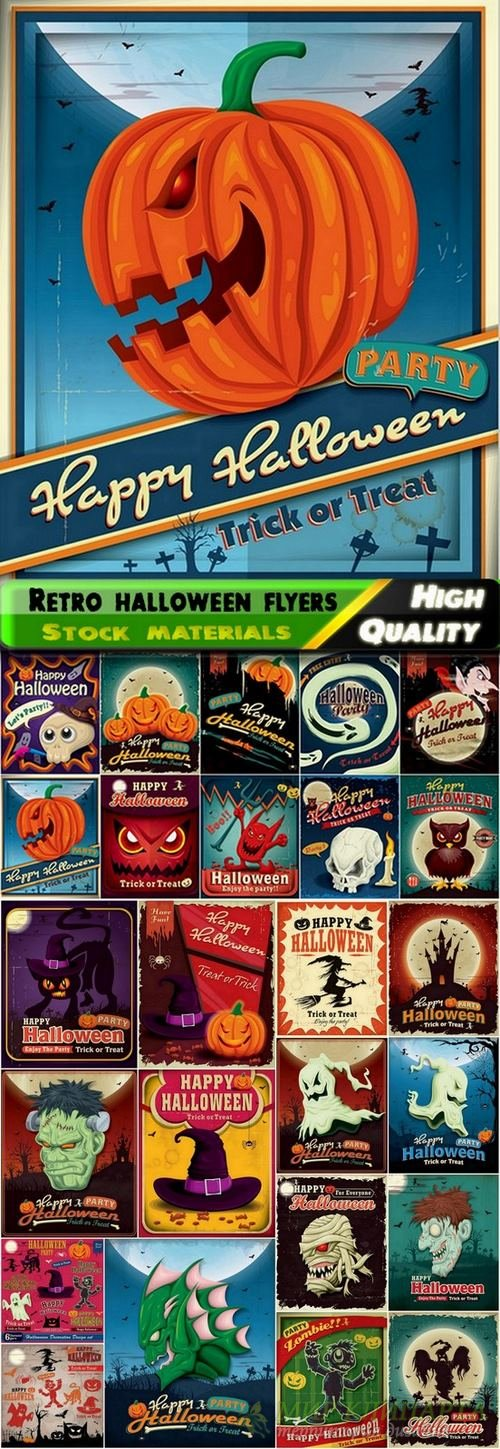 Retro halloween flyers in vector from stock - 25 Eps
